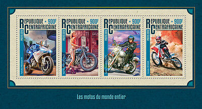 Central African Rep 2016 MNH Motorcycles Harley Davidson Honda 4v M/S Stamps
