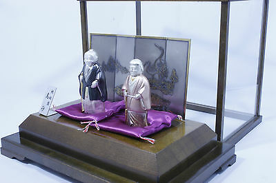 Japanese Antique Starling Silver Old Wife Husband Statue Takasago Figure Doll 2