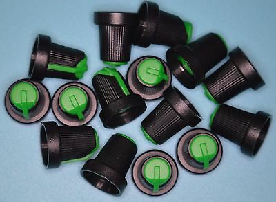 SMALL PUSH ON KNOB FOR 6mm SHAFT BLACK/GREEN TOP  PACK OF 15 KNOBS