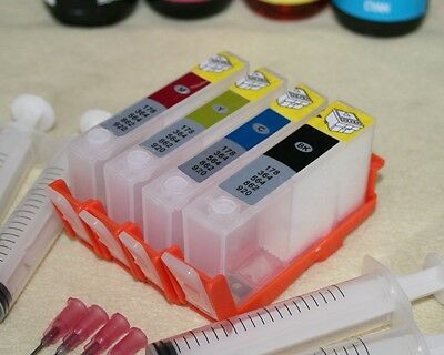 RESET CHIP FITTED 4 X HP364 EMPTY Refillable INK CARTRIDGE REFILL KIT SET HP364