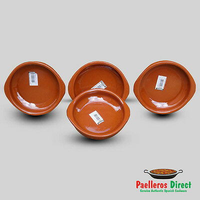 Set of 4 x 14cm Spanish Terracotta Tapas Dishes / Cazuelas