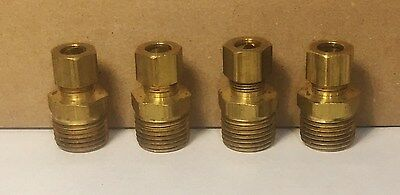 "3/8"" OD x 1/2"" MIP Brass Compression Connector, Qty. 4 Brand New!"