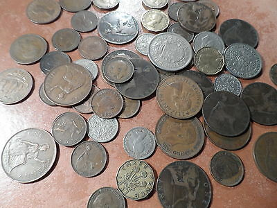 9 Coins half Crowns to Farthings bulk lot good mix