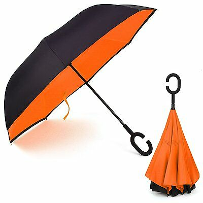 Rainlax Inverted Umbrella Double Layer Windproof Anti UV Protection Umbrellas