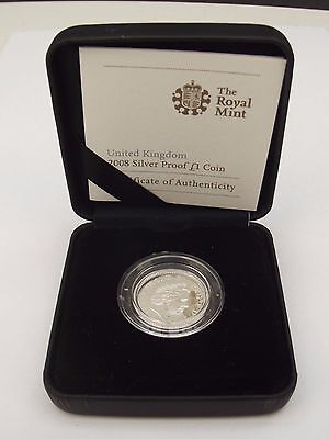 2008 UK Silver Proof £1 One Pound Coin COA Royal Mint