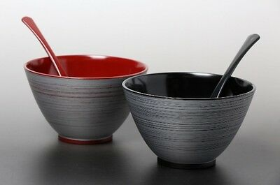 Echizen Urushi Japanese Lacquered Soup rice bowl & scoop set of 2 made in japan