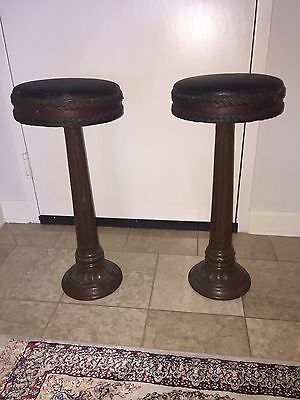 Man Cave Real Vintage Antique Cast Iron Bar Stools w/ Leather Swivel Top