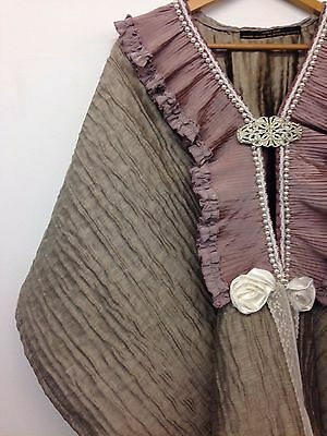 Handmade victorian edwardian style cape pink grey one size period costume poncho