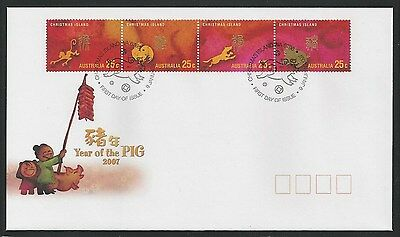 Australia Christmas Island - FDC Lunar New Year - 4 Stamps - 2007 Pig