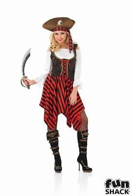Ladies Pirate Girl Costume - Womens Halloween Fancy Dress Party Caribbean