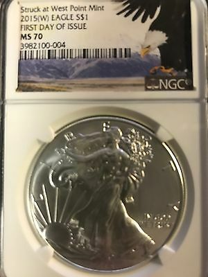 2015 W $1 Silver Eagle first day issue MS 70 NGC STRUCK AT WEST POINT