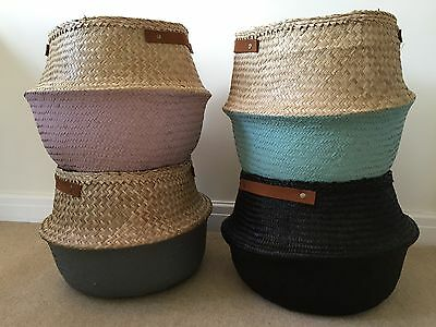 Seagrass Belly Basket Dipped Pink Grey Turquoise Storage Toys Panier Boule