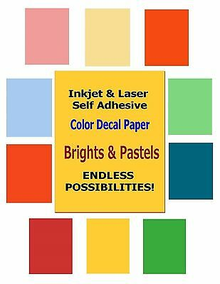 INKJET & LASER Colored Decal Paper - Brights & Pastels - Endless Possibilities!