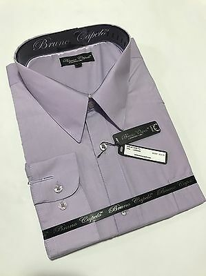 New BRUNO CAPELO Mens Dress Shirt Long Sleeves Cotton Blend Lavender BCDS-112