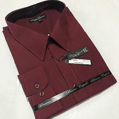 New BRUNO CAPELO Mens Dress Shirt Long Sleeves Cotton Blend Burgundy BCDS-113