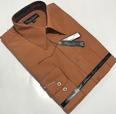 New BRUNO CAPELO Mens Dress Shirt Long Sleeves Cotton Blend Rust BCDS-114