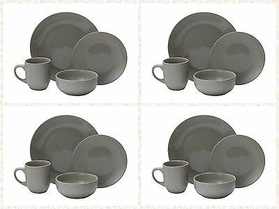 16Pcs Piece Special Stoneware Plates Bowls Service for 4 Family Dining Set Grey