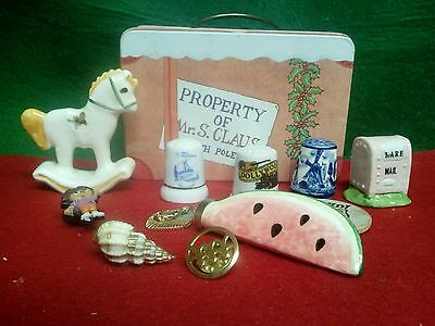 Small tin box of sewing Thimbles and miniatures