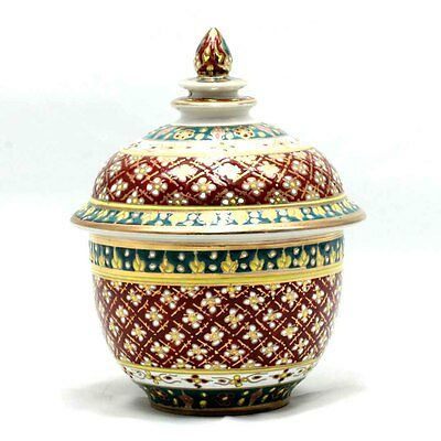 "Thai Benjarong Porcelain Pottery Tho Chan 3"" Bowl and Lid Hand Painted BB-23"