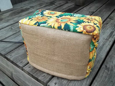 Toaster Cover Sunflowers Burlap Country Rustic Fabric Quilted 4 Slice
