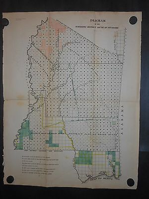 Mississippi 1839 Map District South of Tennessee Chocktaw Indian Boundaries H/C