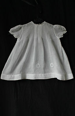 Antique Vintage Baby Dress Sheer Voile Cream Flowers embroidery buttons 1950s