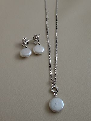 Honora Sterling Silver Freshwater Cultured Coin Pearl Necklace And Earrings Set