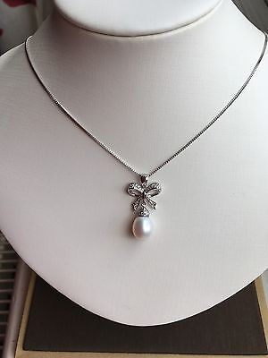 Sterling Silver 925 Freshwater Pearl Pendant Necklace With Gift Box