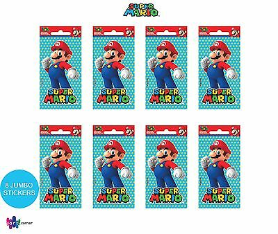 Super Mario Party Supplies Favours JUMBO STICKERS Pack Of 8