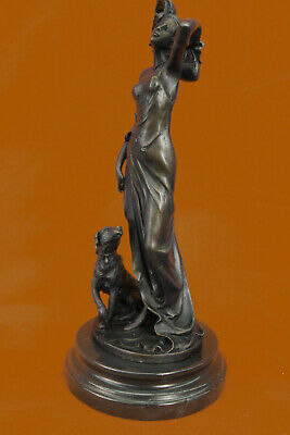 Elegant Nude Female Woman Dog Art Deco Bronze Sculpture Statue Figurine Figure T