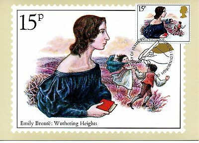 Gb 1980  Ppc  Famous People - Emily Bronte  Maxi Card Stamp On Stamp