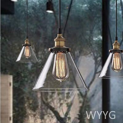 Glass Shade Vintage Industrial Fitting Ceiling Pendant Light Chandelier Bar Lamp