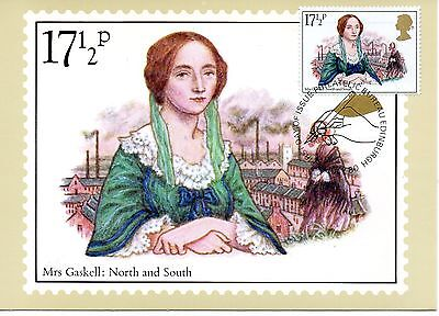 Gb 1980  Ppc  Famous People - Mrs. Gaskell   Maxi Card Stamp On Stamp