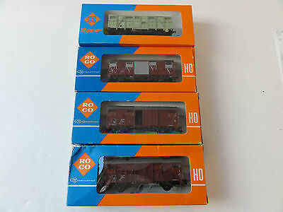 Roco Ho 4 Wagons Marchandises Sncf Couverts Tbe Bo 2 Rails Cc