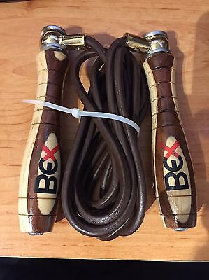 BEX SKIPPING SPEED ROPE WOODEN Leather Adjustable New