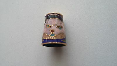 Decorative Enamel Thimble - Cat and decoration