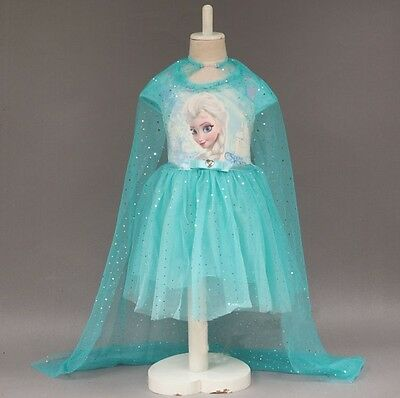 Girl Frozen Dress Costume Disney Princess Queen Elsa Party Birthday size 3-10Yrs