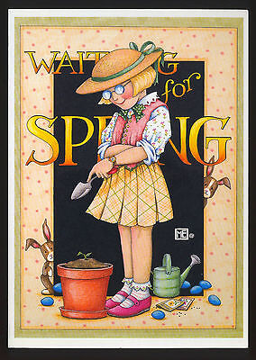 UNUSED 1994 Mary ENGELBREIT EASTER Greeting Card GIRL WAITING FOR SPRING w/env