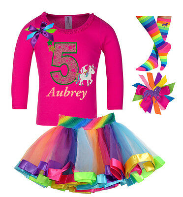 Bubblegum Divas Unicorn Shirt Rainbow Tutu 5th Birthday Outfit Girls Gift Set 5