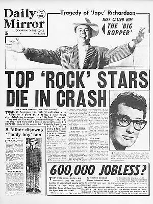Buddy Holly Newspaper Death Page 16x12 Repro Poster