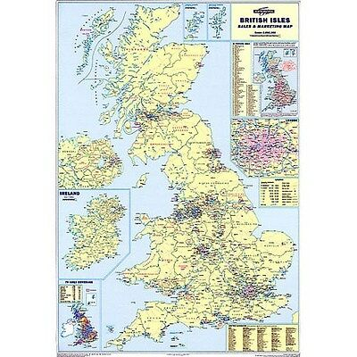 Large Laminated Wall Road Map Poster Of Great Britain Gb Uk  Map117