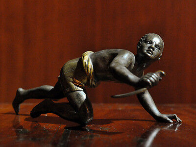Cold Painted Bronze by Franz Xaver Bergmann African Man with Dagger