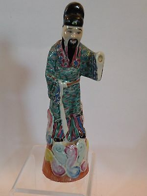 WPW107 ANTIQUE CHINESE FIGURINE OF MAN IN ROBE, famille rose as is hand