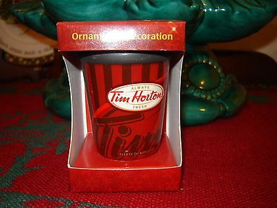 Tim Hortons 2009 Christmas Ornament Take Out Red Coffee Mug Cup - New in Box