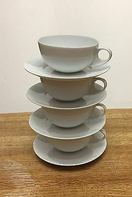 CRATE & BARREL Set of 4 White Porcelain Spal Coffee/Tea Cup and Saucer Portugal