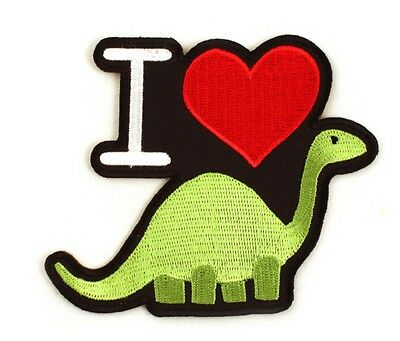 """I Heart Dinosaur Iron-On Patch 3 1/2"""" x 3 1/4"""" Free Shipping Licensed PCH-GT0401"""