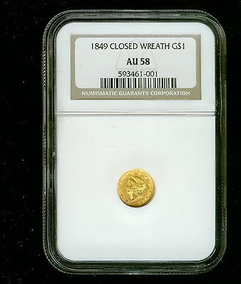 1849-P Closed Wreath Gold Dollar Gold $1 NGC AU 58 Type 1, Liberty Head