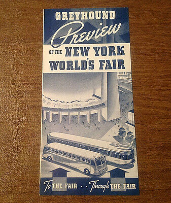 Vintage 1939 Greyhound Preview of the New York World's Fair Brochure Booklet