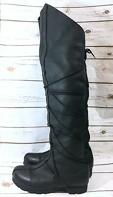 Son of Sandlar Black Leather High Peasant Boots Renaissance Medieval Mens Size 9