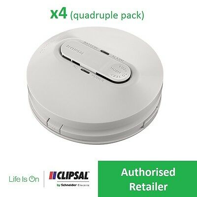 CLIPSAL (x4) 755PSMA4 240V Smoke Alarm Photoelectric AS3786:2014 Value Pack of 4